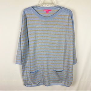 Lilly Pulitzer Cobo Sweater Heathered Blue Stripe